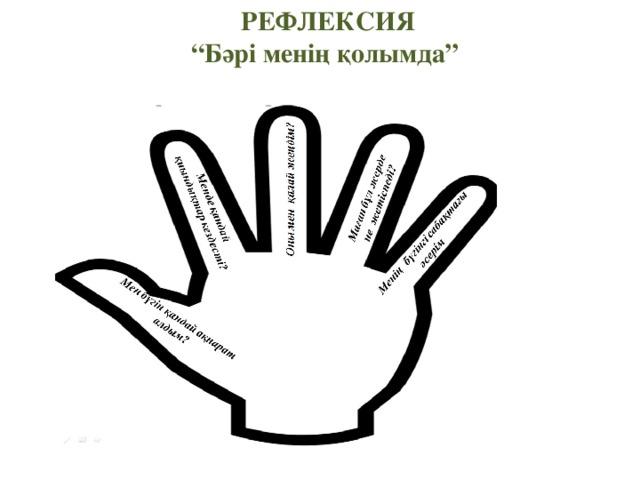 """РЕФЛЕКСИЯ """" Бәрі менің қолымда"""""""