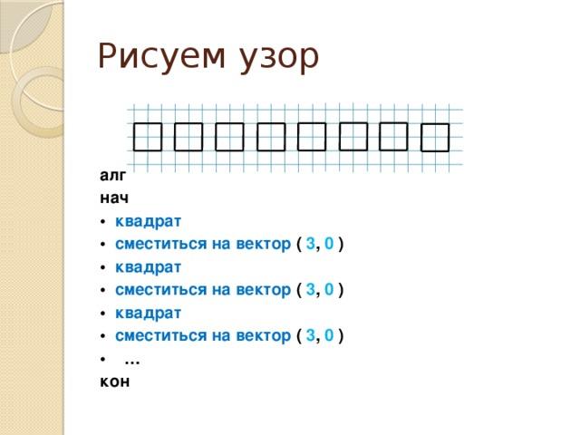 Рисуем узор алг нач • квадрат • сместиться на вектор ( 3 , 0 ) • квадрат • сместиться на вектор ( 3 , 0 ) • квадрат • сместиться на вектор ( 3 , 0 ) •  … кон