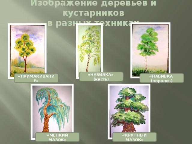 Изображение деревьев и кустарников  в разных техниках « НАБИВКА» (кисть) « НАБИВКА (поролон) « ПРИМАКИВАНИЕ» « КРУПНЫЙ МАЗОК» « МЕЛКИЙ МАЗОК»