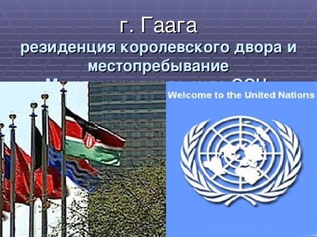 г. Гаага  резиденция королевского двора и местопребывание Международного суда ООН.