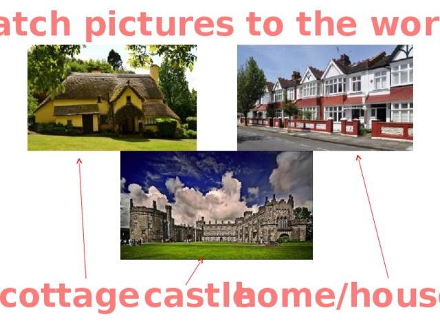 Match pictures to the words cottage castle home/house