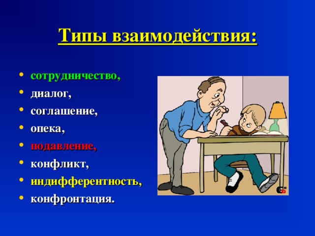Типы взаимодействия: