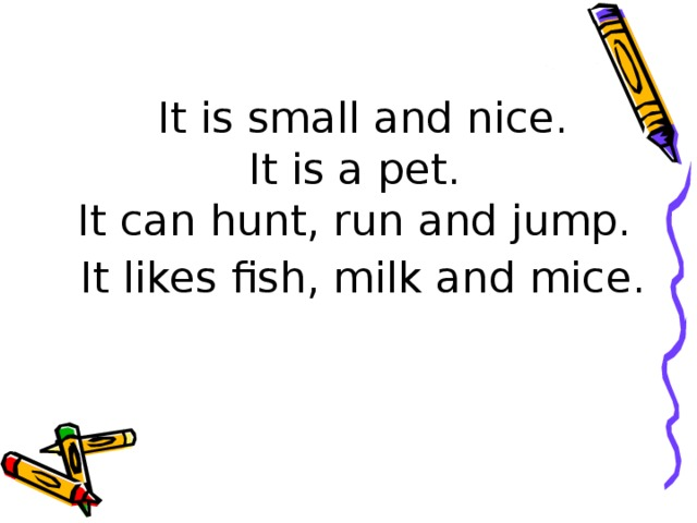 It is small and nice.  It is a pet.  It can hunt, run and jump.  It likes fish, milk and mice.