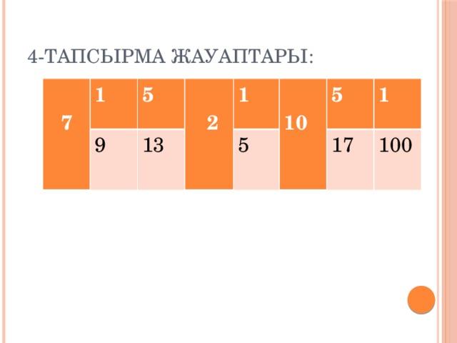 4-тапсырма жауаптары:  7 1 9 5  13  2 1 5  10 5 1 17 100