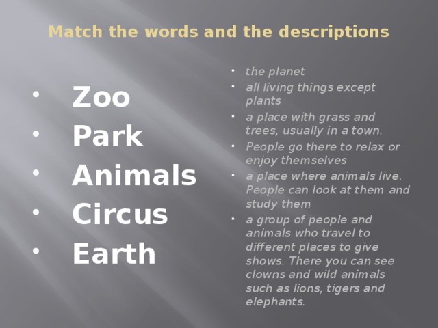 Match the words and the descriptions