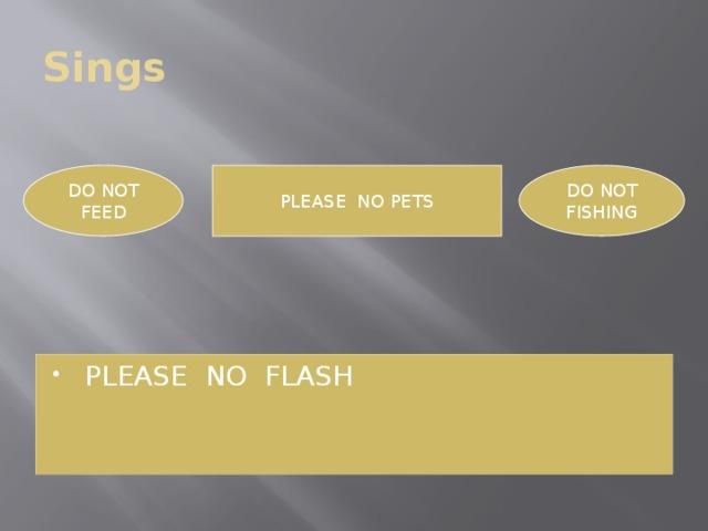 Sings PLEASE NO PETS DO NOT DO NOT FEED FISHING