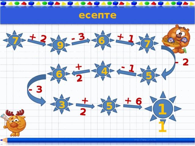 + 2 - 3 + 1 - 1 + 2 +2 + 6 есепте 7   6  7 9 - 2   4  6 5 - 3    3 5 11