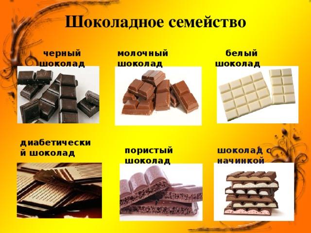 Шоколадное семейство черный шоколад молочный шоколад  белый шоколад диабетический шоколад пористый шоколад шоколад с начинкой