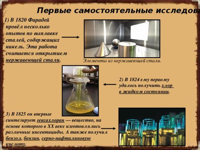 Первые самостоятельные исследования. 1) В1820Фарадей  провёл несколько  опытов по выплавке  сталей, содержащих  никель.  Эта работа  считается открытием  нержавеющей стали . Элементы из нержавеющей стали. 2) В1824ему первому удалось получить хлор в жидком состоянии . 3) В 1825 он впервые синтезирует гексахлоран — вещество, на основе которого в XX веке изготовлялись различныеинсектициды. А также получил бензол , бензин , серно - нафталиновую кислоту .