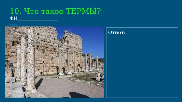 10. Что такое ТЕРМЫ?  ФИ__________________ Ответ: