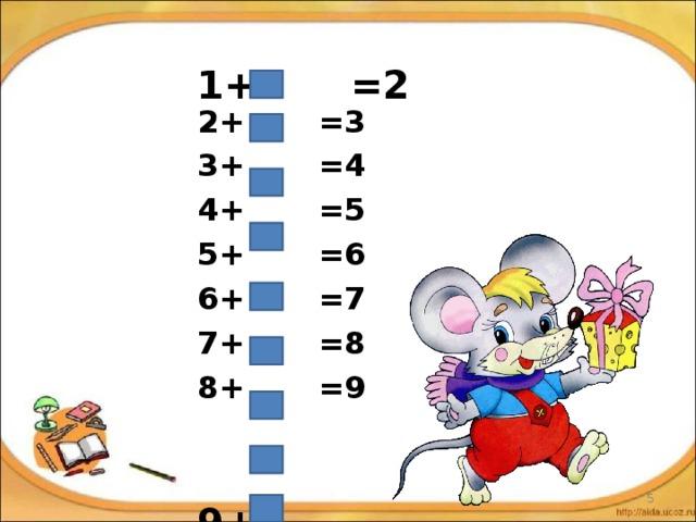 1+ =2 2+ =3 3+ =4 4+ =5 5+ =6 6+ =7 7+ =8 8+ =9   9+ =10