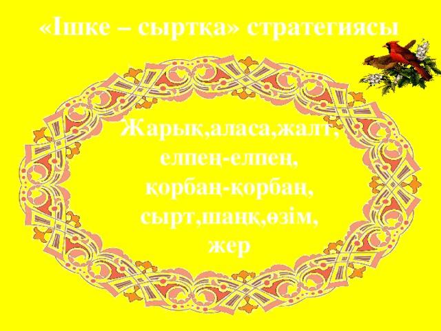 «Ішке – сыртқа» стратегиясы Жарық,аласа,жалт, елпең-елпең, қорбаң-қорбаң, сырт,шаңқ,өзім, жер