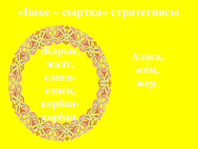 «Ішке – сыртқа» стратегиясы Жарық, жалт, елпең-елпең, қорбаң-қорбаң. Аласа, өзім, жер.