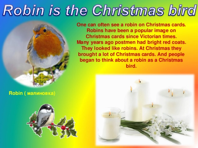 One can often see a robin on Christmas cards. Robins have been a popular image on Christmas cards since Victorian times. Many years ago postmen had bright red coats. They looked like robins. At Christmas they brought a lot of Christmas cards. And people began to think about a robin as a Christmas bird.  Robin ( малиновка )