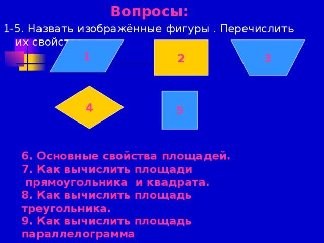 Вопросы:  1-5. Назвать изображённые фигуры . Перечислить их свойства. 1 2 3 4 5 6. Основные свойства площадей. 7. Как вычислить площади  прямоугольника и квадрата. 8. Как вычислить площадь треугольника. 9. Как вычислить площадь параллелограмма