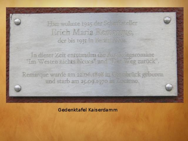 Gedenktafel Kaiserdamm