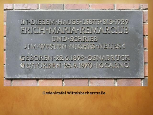 Gedenktafel Wittelsbacherstraße
