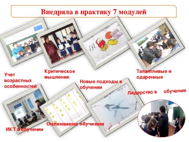 Лидерство в обучении Внедряла в практику 7 модулей Талантливые и одаренные  Критическое  мышление Учет возрастных особенностей Новые подходы в обучении Оценивание обучения ИКТ в обучении