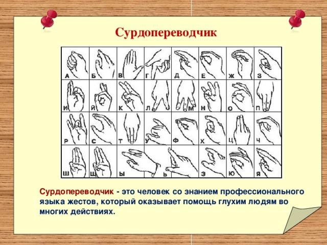 Сурдопереводчик Сурдопереводчик - это человек со знанием профессионального языка жестов, который оказывает помощь глухим людям во многих действиях.