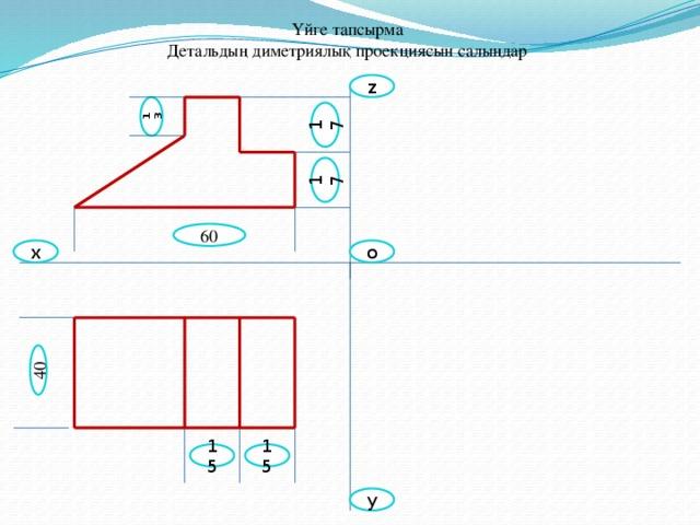 13 40 17 17 Үйге тапсырма  Детальдың диметриялық проекциясын салыңдар z 60 х o 15 15 y