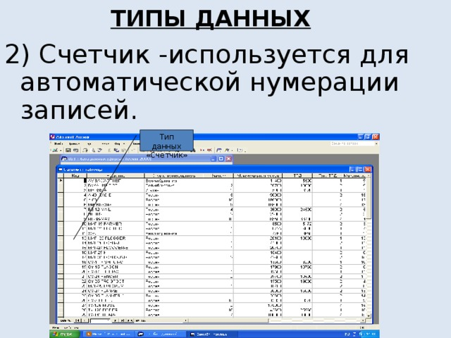 ТИПЫ ДАННЫХ 2) Счетчик -используется для автоматической нумерации записей. Тип данных «Счетчик»