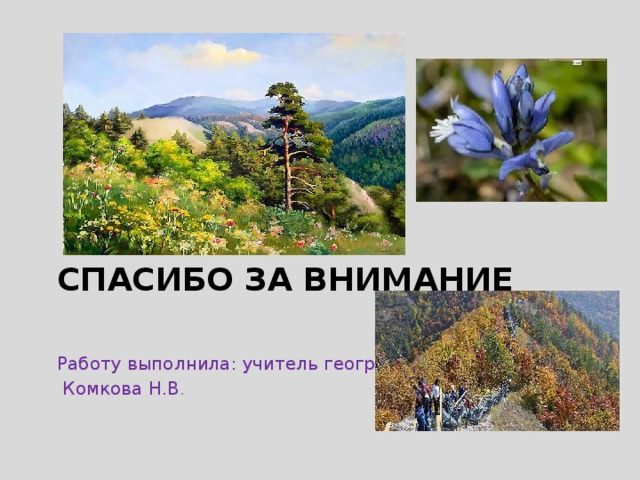 Работу выполнила: учитель географии  Комкова Н.В . Спасибо за внимание