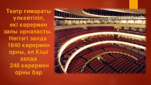 Театр ғимараты  үлкейтіліп, екі көрермен залы орналасты. Негізгі залда 1840 көрермен орны, ал Кіші залда  248 көрермен орны бар