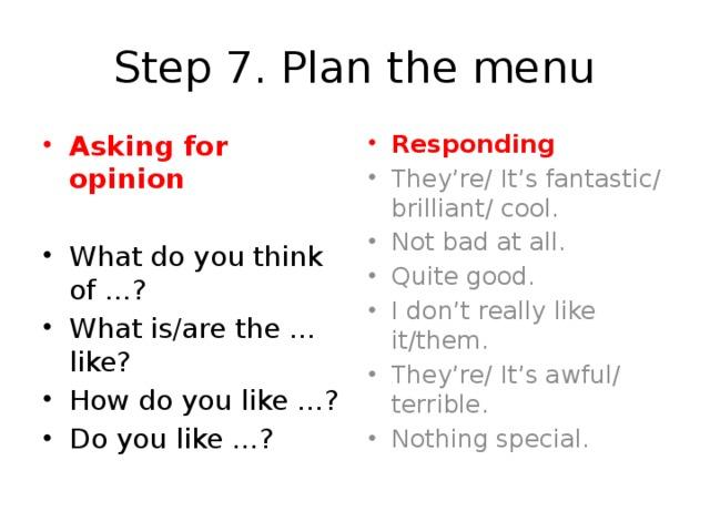 Step 7. Plan the menu