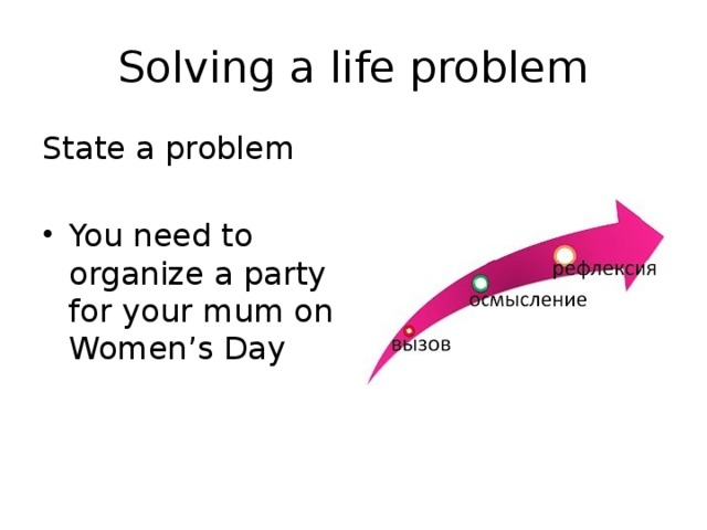 Solving a life problem State a problem