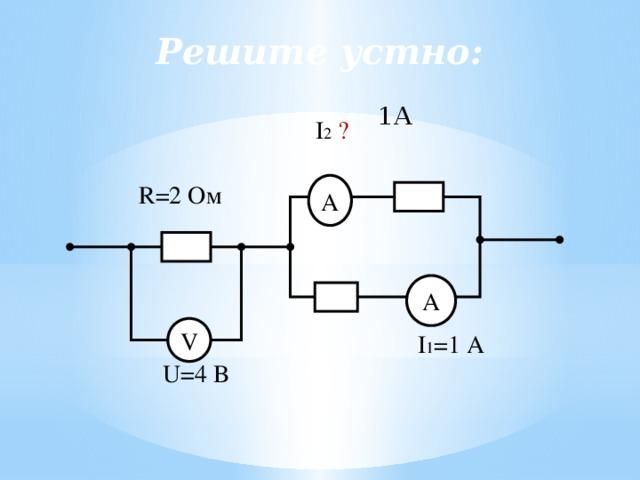 Решите устно: 1А I 2  ? R=2 Ом А А V I 1 =1 А U=4 В 21