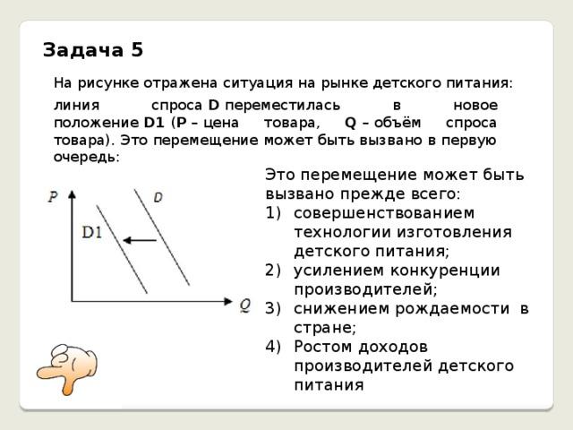 Задача 5 На рисунке отражена ситуация на рынке детского питания: линия спроса D переместилась в новое положение D1 ( P –  цена товара, Q –  объём спроса товара). Это перемещение может быть вызвано в первую очередь: Это перемещение может быть вызвано прежде всего: