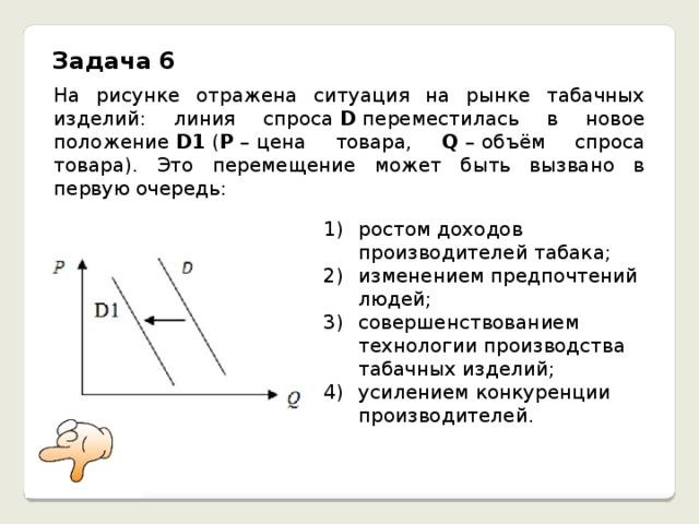 Задача 6 На рисунке отражена ситуация на рынке табачных изделий: линия спроса D переместилась в новое положение D1 ( P –  цена товара, Q –  объём спроса товара). Это перемещение может быть вызвано в первую очередь: