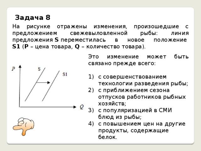 Задача 8 На рисунке отражены изменения, произошедшие с предложением свежевыловленной рыбы: линия предложения S переместилась в новое положение S1 ( P – цена товара, Q – количество товара). Это изменение может быть связано прежде всего: