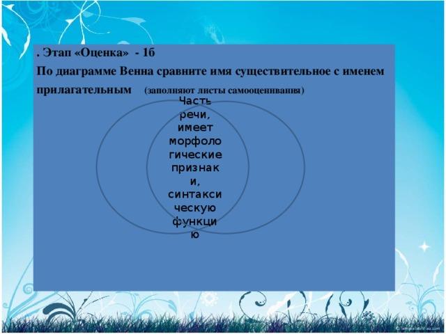 . Этап «Оценка» - 1б По диаграмме Венна сравните имя существительное с именем прилагательным (заполняют листы самооценивания)             Часть речи, имеет морфологические признаки, синтаксическую функцию