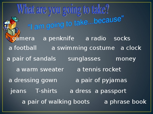 a camera  a penknife a radio socks  a football a swimming costume a clock  a pair of sandals  sunglasses  money  a warm sweater a tennis rocket   a dressing gown  a pair of pyjamas   jeans T-shirts  a dress a passport  a pair of walking boots  a phrase book
