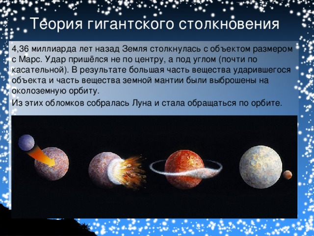 Теория гигантского столкновения 4,36миллиарда лет назад Земля столкнулась с  объектом размером сМарс. Удар пришёлся не по центру, а под углом (почти по касательной). В результате большая часть вещества ударившегося объекта и часть вещества земной мантии были выброшены на околоземную орбиту. Из этих обломков собралась Луна и стала обращаться по орбите.