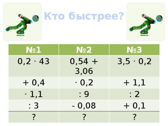 «Кто быстрее?» № 1 № 2 0,2 · 43 № 3 0,54 + 3,06 + 0,4 · 0,2 · 1,1 3,5 · 0,2 : 9 + 1,1 : 3 - 0,08 ? : 2 + 0,1 ? ?