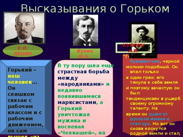 Высказывания о Горьком КУПРИН А.И. В.И. ЛЕНИН Бунин И.А.