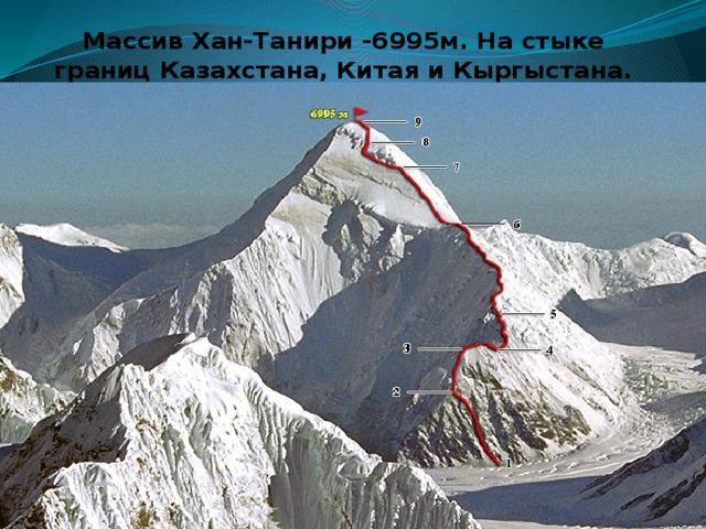 Массив Хан-Танири -6995м. На стыке границ Казахстана, Китая и Кыргыстана.
