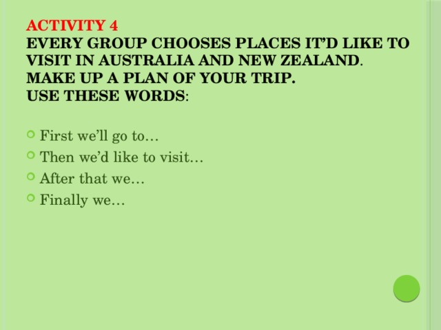Activity 4  Every group chooses places it'd like to visit in Australia and New Zealand .  Make up a plan of your trip.  Use these words :