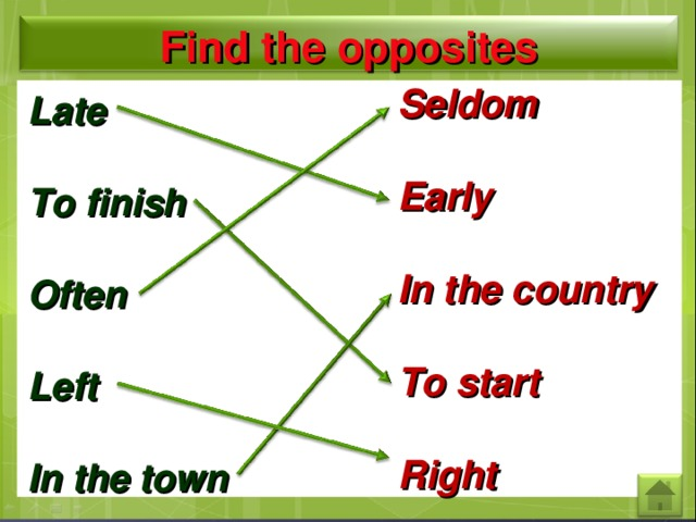 Find the opposites Seldom  Early  In the country  To start  Right  Late  To finish  Often  Left  In the town