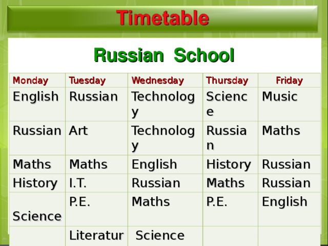 Timetable  Russian School Monday Tuesday English Wednesday Russian Russian Thursday Art Maths Technology History Maths Technology Friday Science Russian I.T. English  Science Music P.E. History Russian Maths Maths Literature Maths Russian Russian P.E.  Science English
