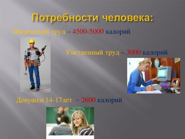 Физический труд – 4500-5000 калорий Умственный труд – 3000 калорий Девушки 14-17лет  - 2600 калорий
