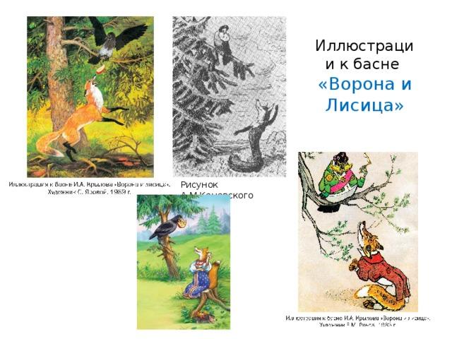 Иллюстрации к басне  «Ворона и Лисица» Рисунок А.М.Каневского