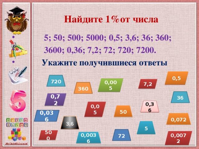 Найдите 1%от числа  5; 50; 500; 5000; 0,5; 3,6; 36; 360;  3600; 0,36; 7,2; 72; 720; 7200.  Укажите получившиеся ответы  0,5 720 0,005 7,2 360 36 0,72 0,36 0,05 50 0,036 0,072 3,6 5 72 500 0,0072 0,0036