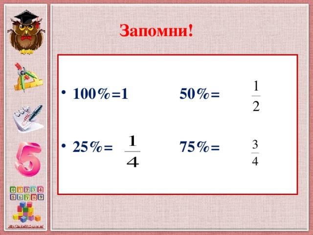 Запомни!  100%=1 50%=  25%= 75%=
