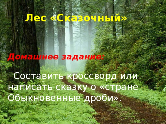Лес «Сказочный» Домашнее задание:  Составить кроссворд или написать сказку о «стране Обыкновенные дроби».