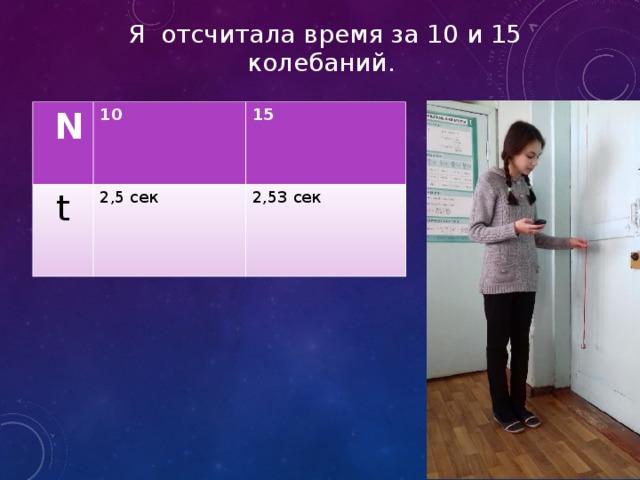 Я отсчитала время за 10 и 15 колебаний.  N 10 t 15 2,5 сек 2,53 сек