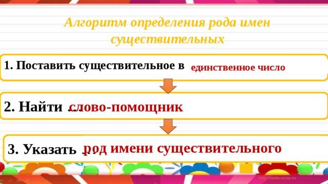 Алгоритм определения рода имен существительных 1. Поставить существительное в … единственное число 2. Найти … слово-помощник 3. Указать … род имени существительного