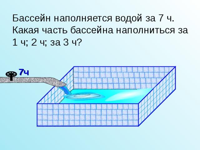 Бассейн наполняется водой за 7 ч. Какая часть бассейна наполниться за 1 ч; 2 ч; за 3 ч? 7ч Л.Г. Петерсон «Математика 4 класс» Урок 26.  3